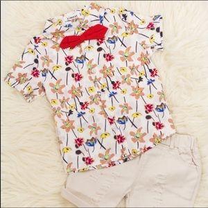 BOYS 3 piece short set, button up & shorts, NWT